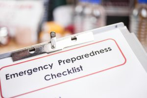 Image of a clip board with an emergency preparedness checklist