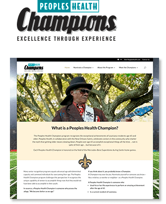 Screenshot of the Champions homepage