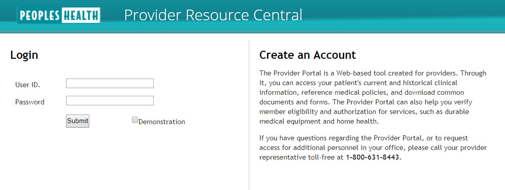 screenshot of the login screen for Provider Resource Central