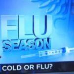 Television screenshot that reads FLU SEASON.