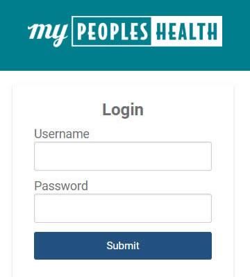 MyPeopleshealth login screen
