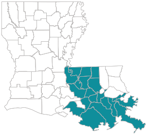 State map of Peoples Health Choices 65#14 Parishes