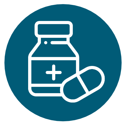 Icon of a medication bottle and pill