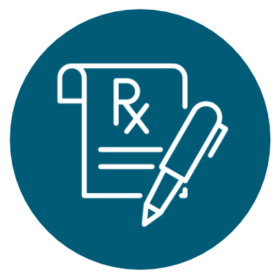 Icon of a prescription tablet and a pen