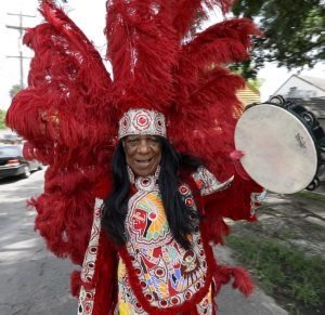 """Peoples Health Honors Champion Joseph """"Big Chief Monk"""" Boudreaux at Saints Home Game"""