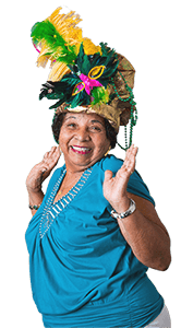 gloria dancing with carnival hat