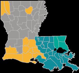 Louisiana parish map depicting all of People Health 2019 Medicare Advantage plans