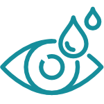 Icon in teal of an abstract eye with eyedrops