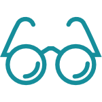 Icon in teal of a pair of eyeglasses