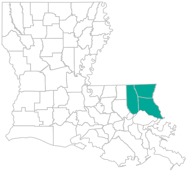 Image of the state of Louisiana with all of the applicable Choices 65 #14 for Northshore parishes highlighted teal