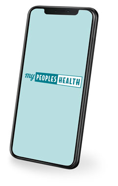 cell phone with mypeopleshealth app