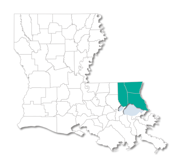 Louisiana map with Choices 65 Northshore Parishes Highlighted