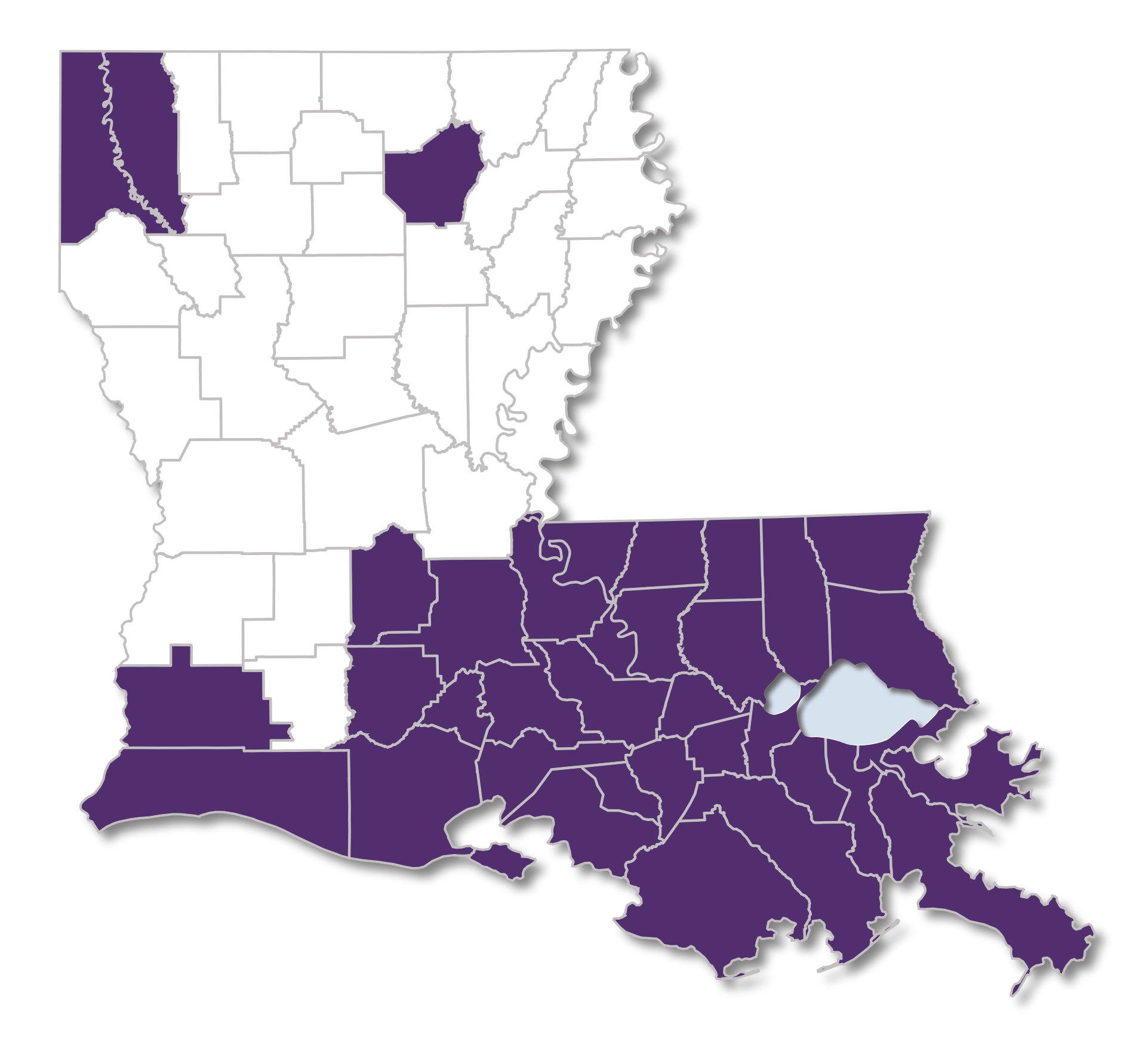 Louisiana map with Secure Health Parishes Highlighted