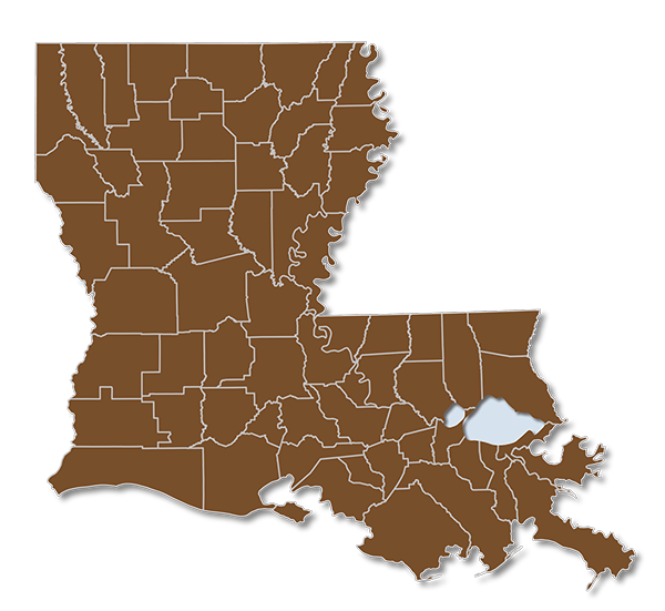 Louisiana map with Group OGB Parishes Highlighted