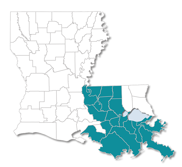 Louisiana map with Choices 65 Parishes Highlighted