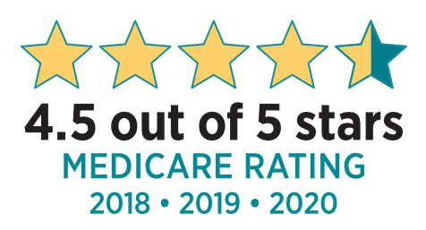 4.5 out of 5 Stars, Louisiana's highest-rated Medicare Advantage Health Plan for 2019 image